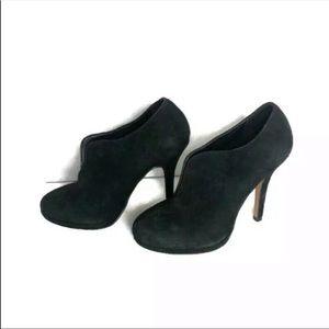 Aldo black suede boogie heel with front slit